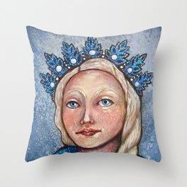 Holiday Snow Maiden Throw Pillow