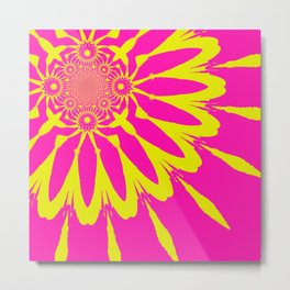 Pink & Yellow Modern Flower. Metal Print