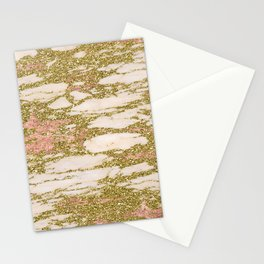 Glitter Gold and Rose Gold Marble With Diamonds Stationery Cards