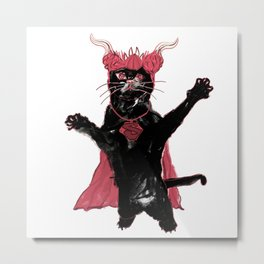 Super Violet Chubby Death Cat - 614. Metal Print