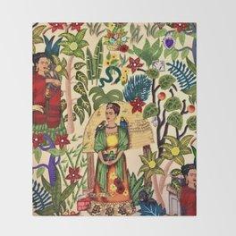 Frida's Garden, Casa Azul Lush Greenery Frida Kahlo Landscape Painting Throw Blanket