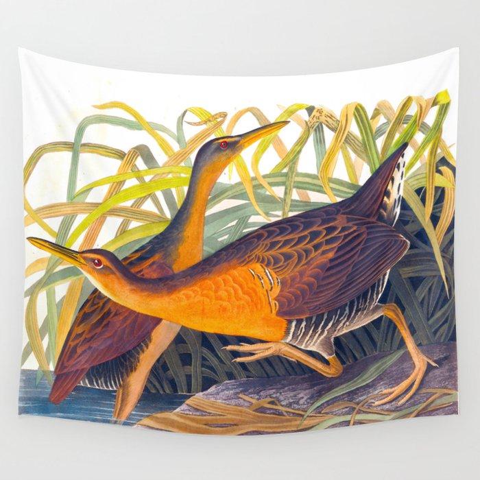 Great Red Breasted Rail John James Audubon Scientific Birds Of America Illustration Wall Tapestry