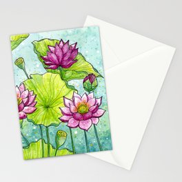 Lotus Flowers Illustration   Hand Drawn   Pink, Green and Blue Stationery Cards