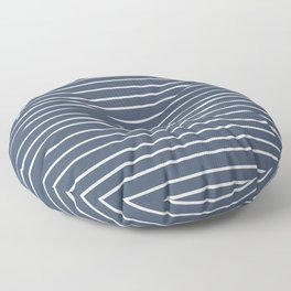 Colorful Stripes, Aqua, Dark Navy Blue and White, Abstract Art Floor Pillow
