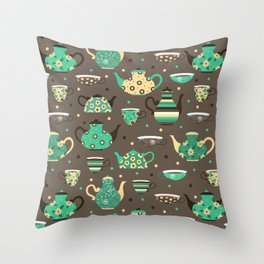 Tea pattern. Throw Pillow