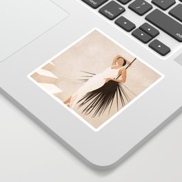 Minimal Woman with a Palm Leaf Sticker