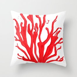 Red Coral no. 1 Throw Pillow