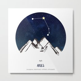 Astrology Aries Zodiac Horoscope Constellation Star Sign Watercolor Poster Wall Art Metal Print