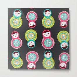 dolls matryoshka on black background, pink and blue colors Metal Print