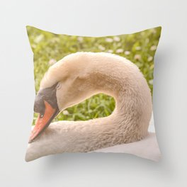 Sleeping Mute Swan Throw Pillow