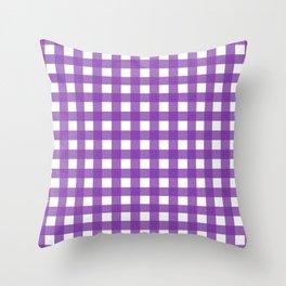 Farmhouse Gingham in Purple Throw Pillow