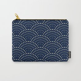 Japanese Blue Wave Seigaiha Indigo Super Moon Pattern Carry-All Pouch