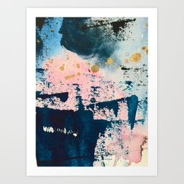 Candyland: a vibrant, colorful abstract piece in blue teal pink and gold by Alyssa Hamilton Art Art Print