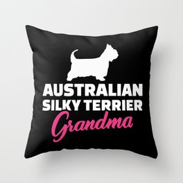 Australian Silky Terrier Grandma Throw Pillow