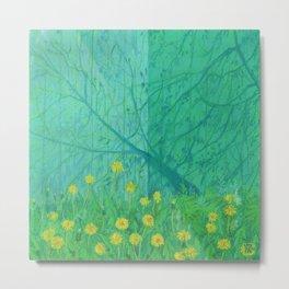 Shadows and Dandelions, Summer Garden, Pastel Painting, Impressionism Metal Print