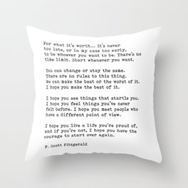 For what it's worth -  F Scott Fitzgerald Throw Pillow