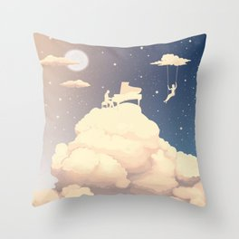 Pianist in the clouds Throw Pillow