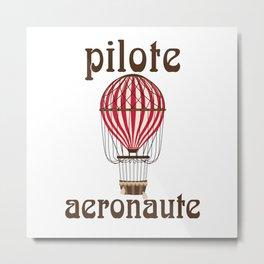 Retro Ballooning Balloonist Hot Air Balloon Pilot Gift Metal Print