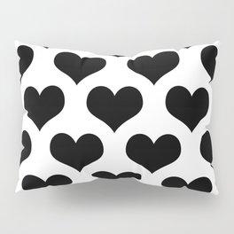 White And Black Heart Minimalist Pillow Sham