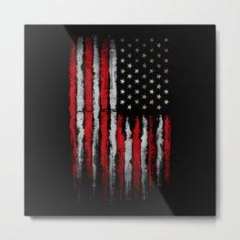 Red & white Grunge American flag Metal Print