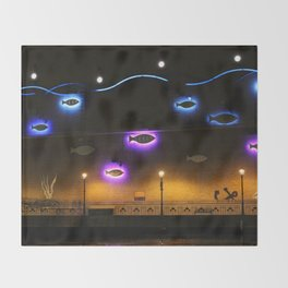 Glowing Fish Throw Blanket