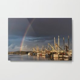 Rainbow over the Marina Metal Print