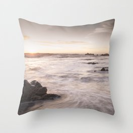 Cambria coast at sunset, Ca Throw Pillow
