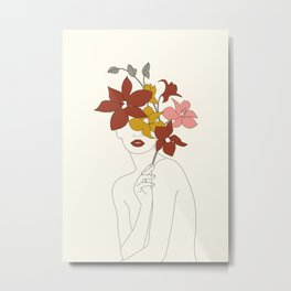 Colorful Thoughts Minimal Line Art Woman with Orchids Metal Print