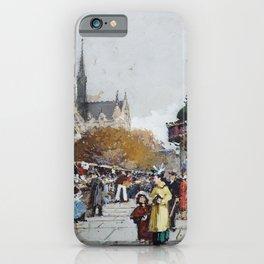 Notre-Dame vue du quai Saint-Michel, Paris by Eugène Galien Laloue iPhone Case