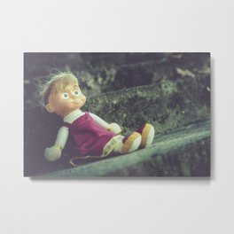 Doll abandoned on the stairs, moody oil painting Metal Print