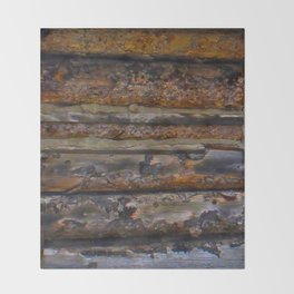 Aged Log Cabin rustic decor Throw Blanket