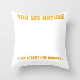 Deer Hunter Burger Sausage BBQ Steaks Throw Pillow