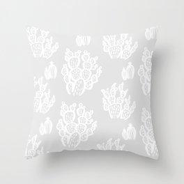 Prickly Pear Grey Cacti Throw Pillow