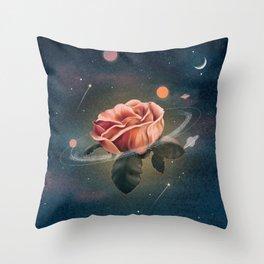 Galaxy rose Throw Pillow
