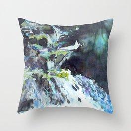 silk painting of Blodgett Canyon Throw Pillow