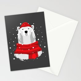 Polar bear in red hat and scarf Stationery Cards