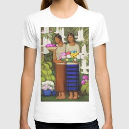 Flowers of Mexico, Angel's Trumpet, Tiger Lilies, Bougainvillea,& Peonies by Alfredo Martinez T-shirt