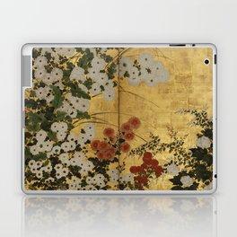 White Red Chrysanthemums Floral Japanese Gold Screen Laptop & iPad Skin