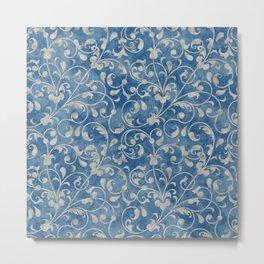 Damask Denim Blue Background with Flowering Vine Floral in Mottled Gray Metal Print
