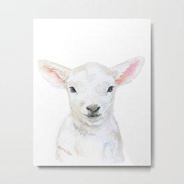 Lamb Face Watercolor Metal Print