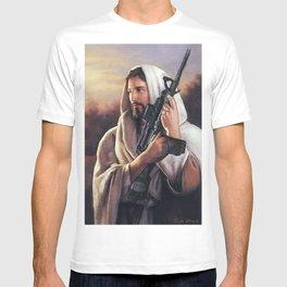 Assault Rifle Jesus Christ Messiah - Who WOuld Jesus Shoot T-shirt