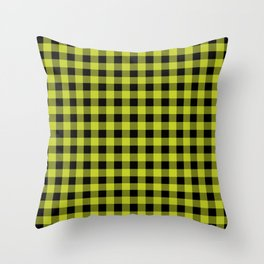 Plaid (chartreuse/black) Throw Pillow