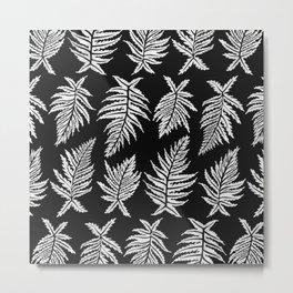 Inked Ferns – White Ink on Black Metal Print