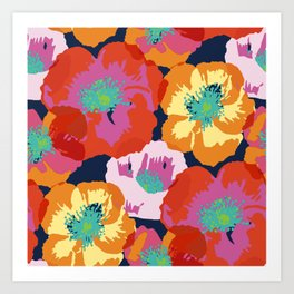 Big Poppies - orange red Art Print