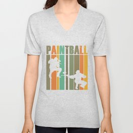 Paintball Players Vintage Retro Paintball Marker Gift Unisex V-Neck