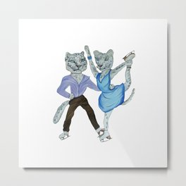 Snow Leopards Go Ice Skating Metal Print
