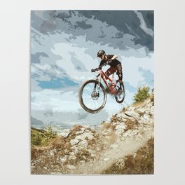 Flying Downhill on a Mountain Bike Poster