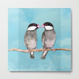 Two kissing Java sparrows Metal Print