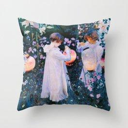 John Singer Sargent - Carnation, Lily, Lily, Rose Throw Pillow