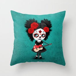 Day of the Dead Girl Playing Singapore Flag Guitar Throw Pillow